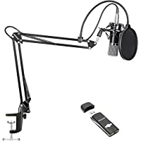 Neewer NW-700 Condenser Microphone Kit for Home Studio Broadcasting Recording - NW-700 Mic, USB Sound Card Adapter, NW-35 Microphone Suspension Scissor Arm Stand with Shock Mount, Pop Filter, Cable