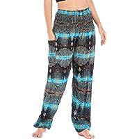 Mujer Algodón Thai Pantalones Hippies Cintura Alta con Bolsillo Boho Estampados Baggy Comodo Harem Pantalón Indios Yoga…