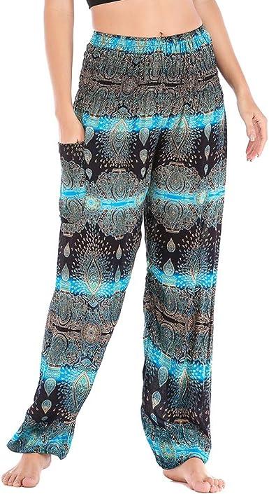 MUYOGRT Pantalones Tipo Harem Mujer Hippies Cintura Alta con Bolsillo Boho Estampados Baggy Comodo Harem Pantal/ón Indios Yoga Pants Verano Playa
