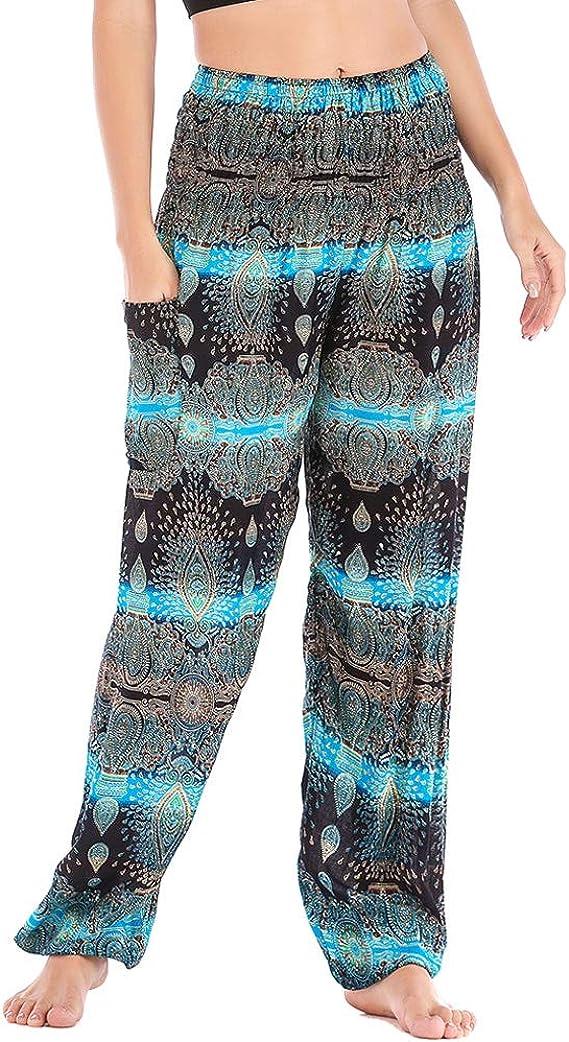 Nuofengkudu Mujer Algodón Thai Pantalones Hippies Cintura Alta con Bolsillo Boho Estampados Baggy Comodo Harem Pantalón Indios Yoga Pants Verano Playa(Azul Agua, Talla única): Amazon.es: Ropa y accesorios