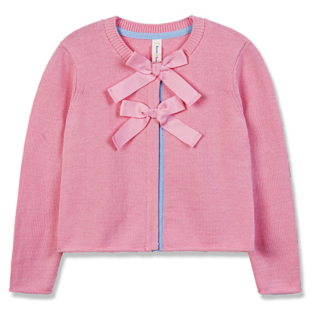 Benito & Benita Girl's Sweater Crew Neck Long Sleeve Cardigan Cotton with Bows for 2-12Y