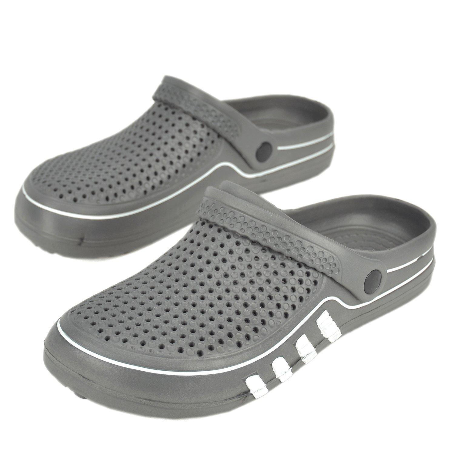 Maya Karis Purse MKP Collection Unisex Outdoor Clogs Sandals Lightweight Summer Slippers Indoor Home Shoes (7 US Men/9 US Women M, Grey/White) by Maya Karis Purse