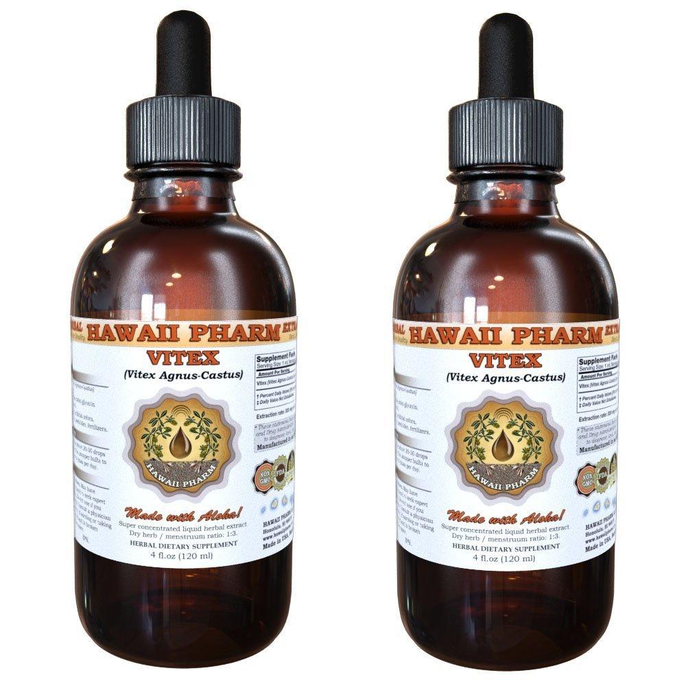 Vitex Liquid Extract, Organic Vitex (Vitex Agnus-Castus) Tincture, Herbal Supplement, Hawaii Pharm, Made in USA, 2x4 fl.oz