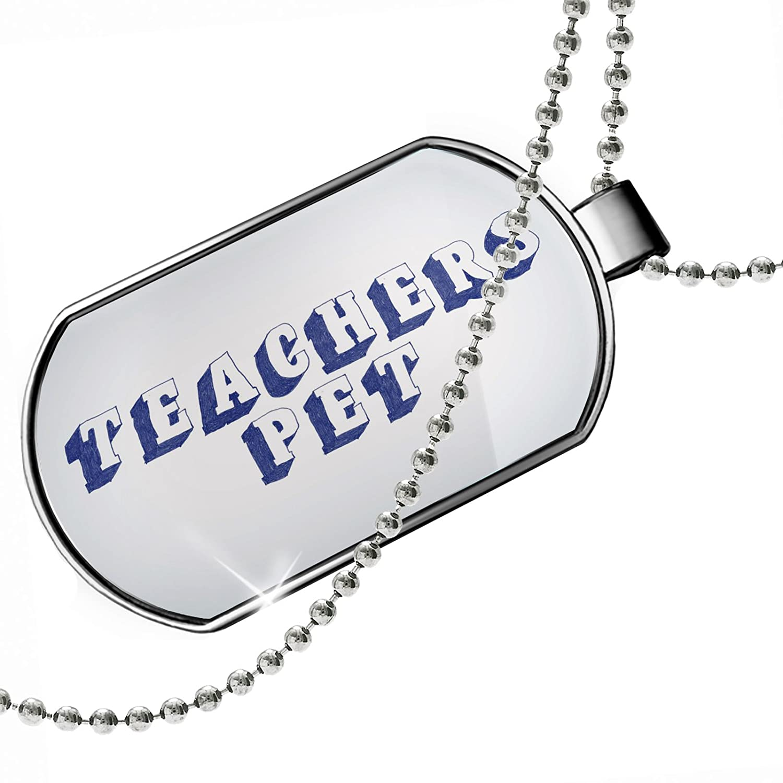 NEONBLOND Personalized Name Engraved Teachers Pet Blue Pen Ink Doodle Dogtag Necklace