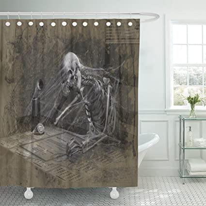 TOMPOP Shower Curtain Death This Guy Was Stuck In The Same Boring Job Way Y Too