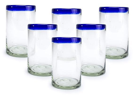 Amazon.com: Vasos de cóctel de cristal reciclado soplado a ...