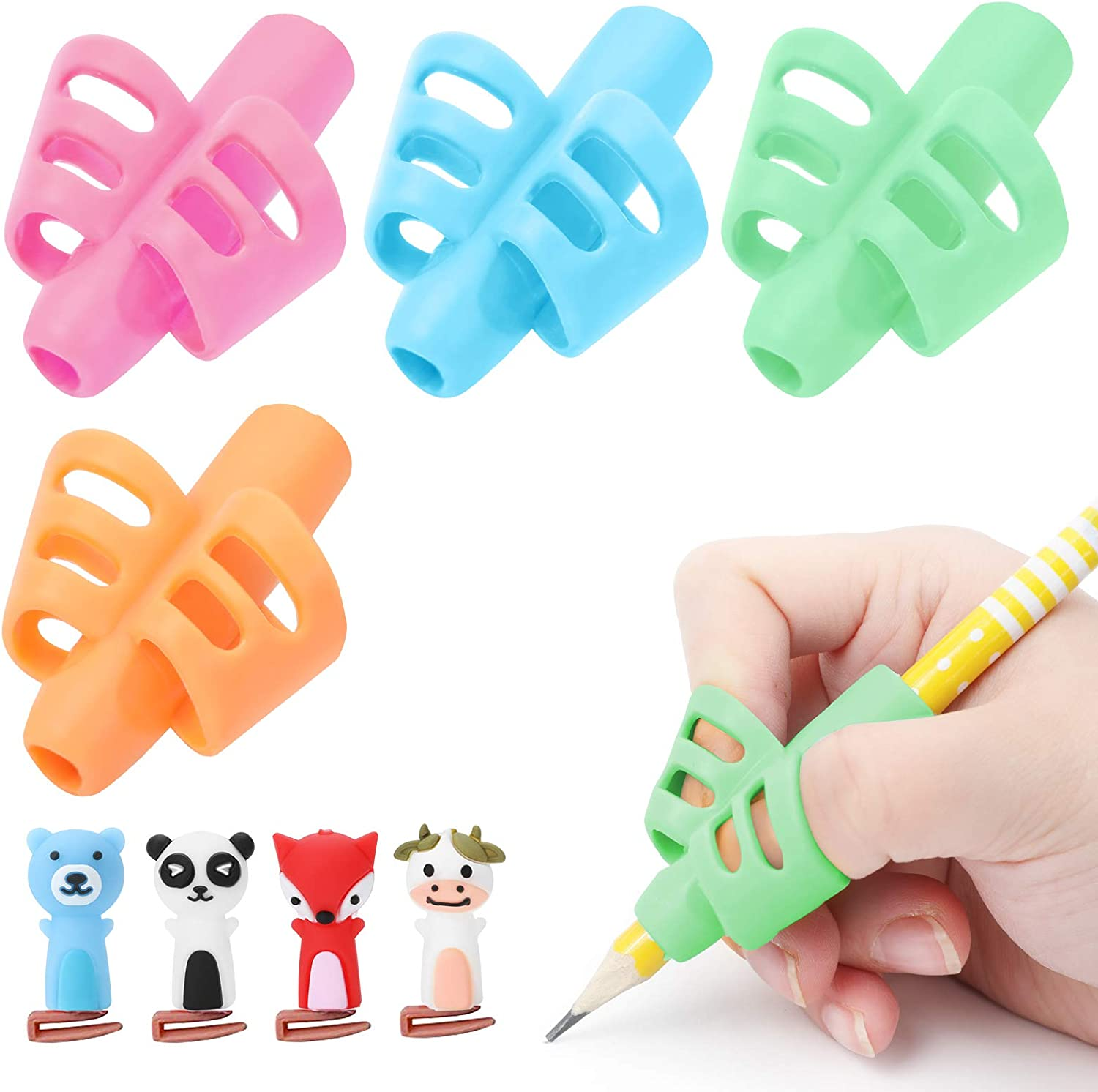 5PCS Kids Handwriting Aid Control Pencil Pen Right Left Handed Soft Grip Tool