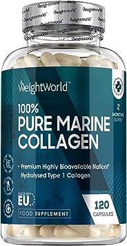 Colágeno Hidrolizado Marino Dosis Alta de 1170 mg 120 Cápsulas | 100% Péptidos Colágeno Marino Puro de Peces Salvajes, Proteínas de Colágeno para la ...