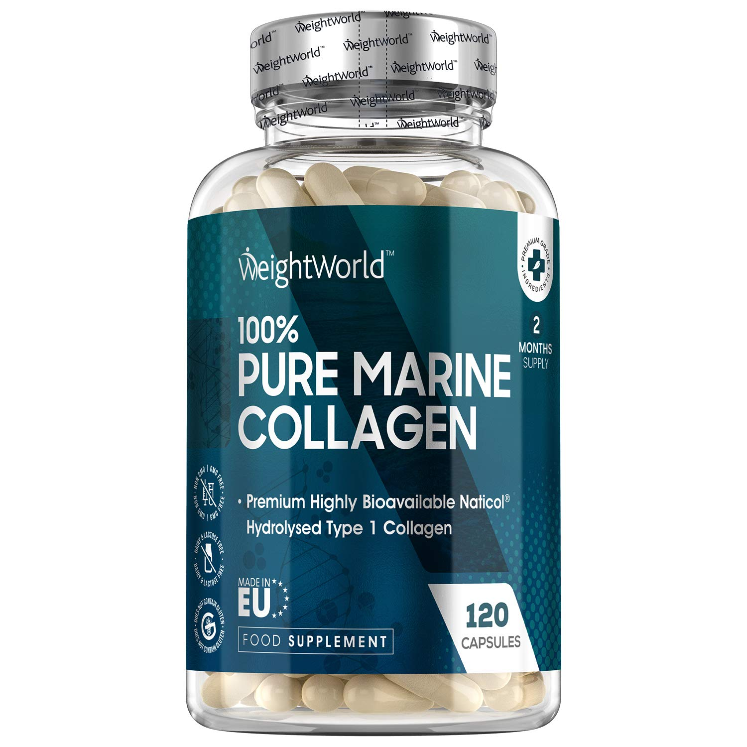 Pure Marine Collagen Capsules - 1170mg - 120 Capsules (2 Month Supply) NatiCol Hydrolysed Collagen Protein Peptides for Skin, Hair, Muscle, Nails & Joints, Wild Caught Fish Collagen - Made in EU