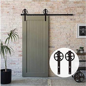 6FT/183cm Herraje para Puerta Corredera Kit de Accesorios para Puertas Correderas,Negro J-Forma Con Rodillos Grande: Amazon.es: Bricolaje y herramientas