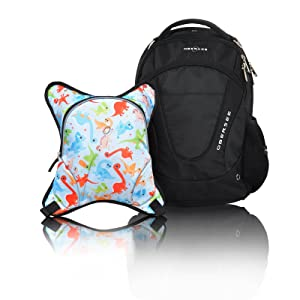 Obersee Oslo Diaper Bag Backpack with Detachable Cooler, Dinos