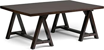 Simpli Home Sawhorse Solid Wood Dark Chestnut Brown Coffee Table