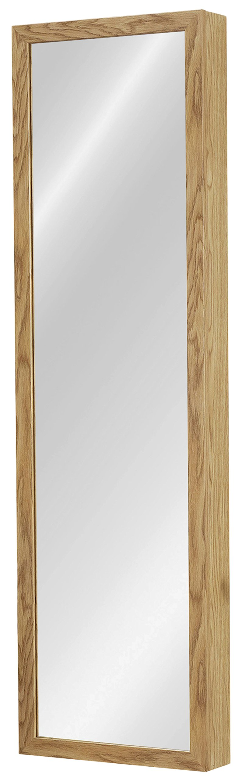 Plaza Astoria Over The Door/Wall-Mount Jewelry Armoire with Full Length Dressing Mirror and Vanity Mirror for Earrings, Necklaces and Rings, Oak