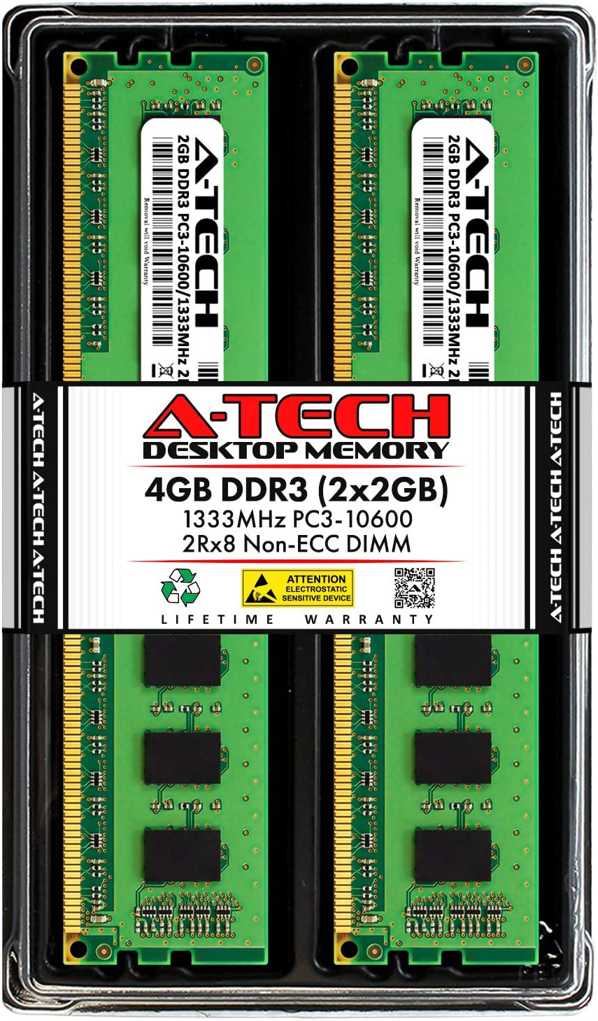 A-Tech 4GB DDR3 1333MHz Desktop Memory Kit (2 x 2GB) PC3-10600 Non-ECC Unbuffered DIMM 240-Pin 2Rx8 1.5V Dual Rank Computer RAM Upgrade Sticks