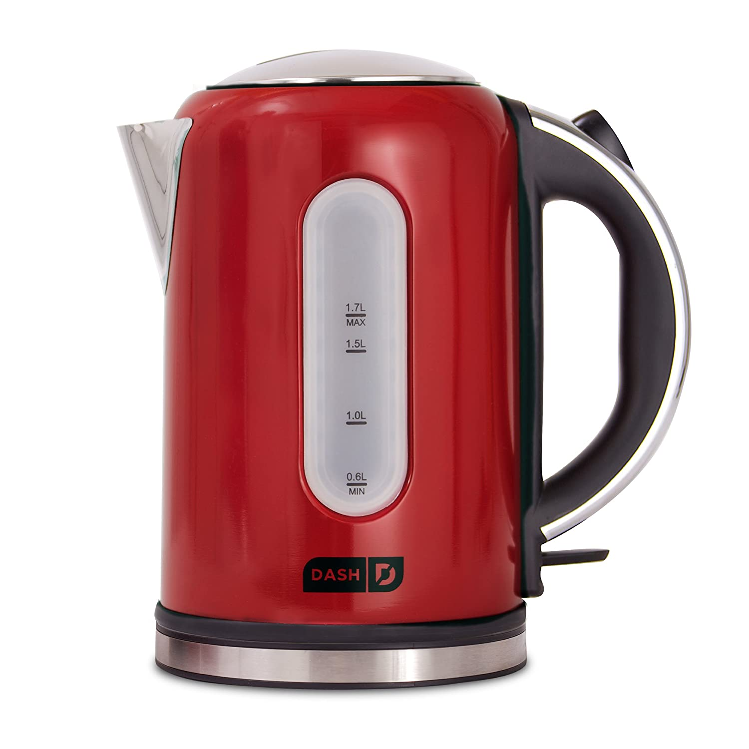 Dash DEK001RD Electric Kettle + Water Heater with Rapid Boil, Cool Touch Handle, Cordless Carafe, No Drip Spout + Auto Shut off for Coffee, Tea, Espresso & More 57 oz / 1.7 L Red