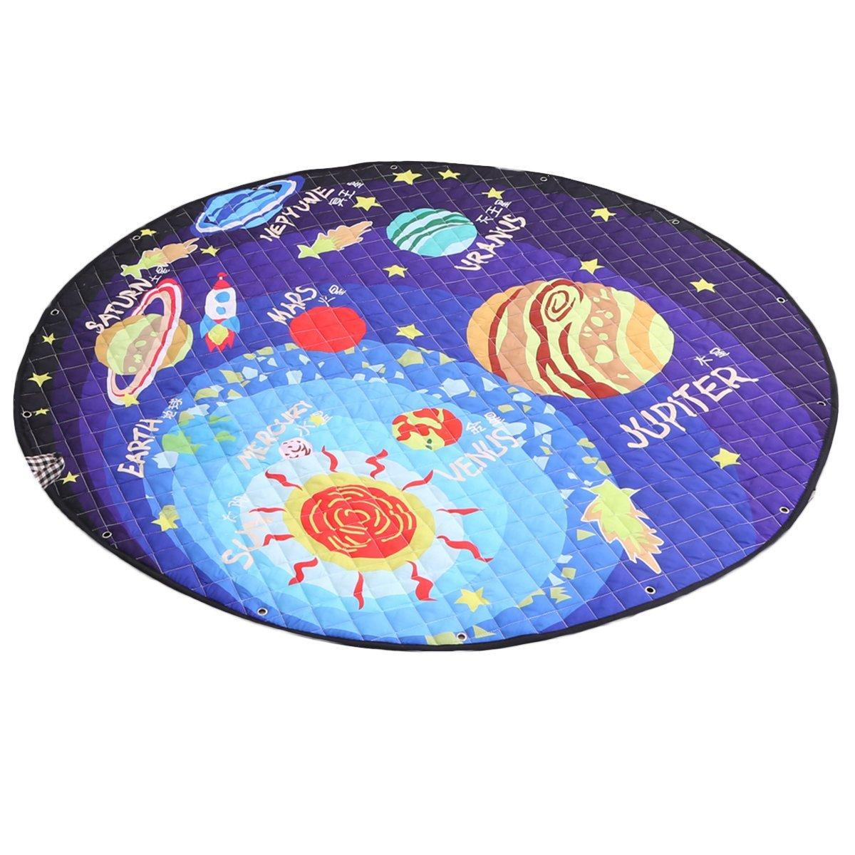 Vosarea Krabbeldecke Runde Teppich Baby Kinder Spiel Teppich Aufbewahrungstasche Rutschfest Boden Matte Haus Dekor (Solarsystem)