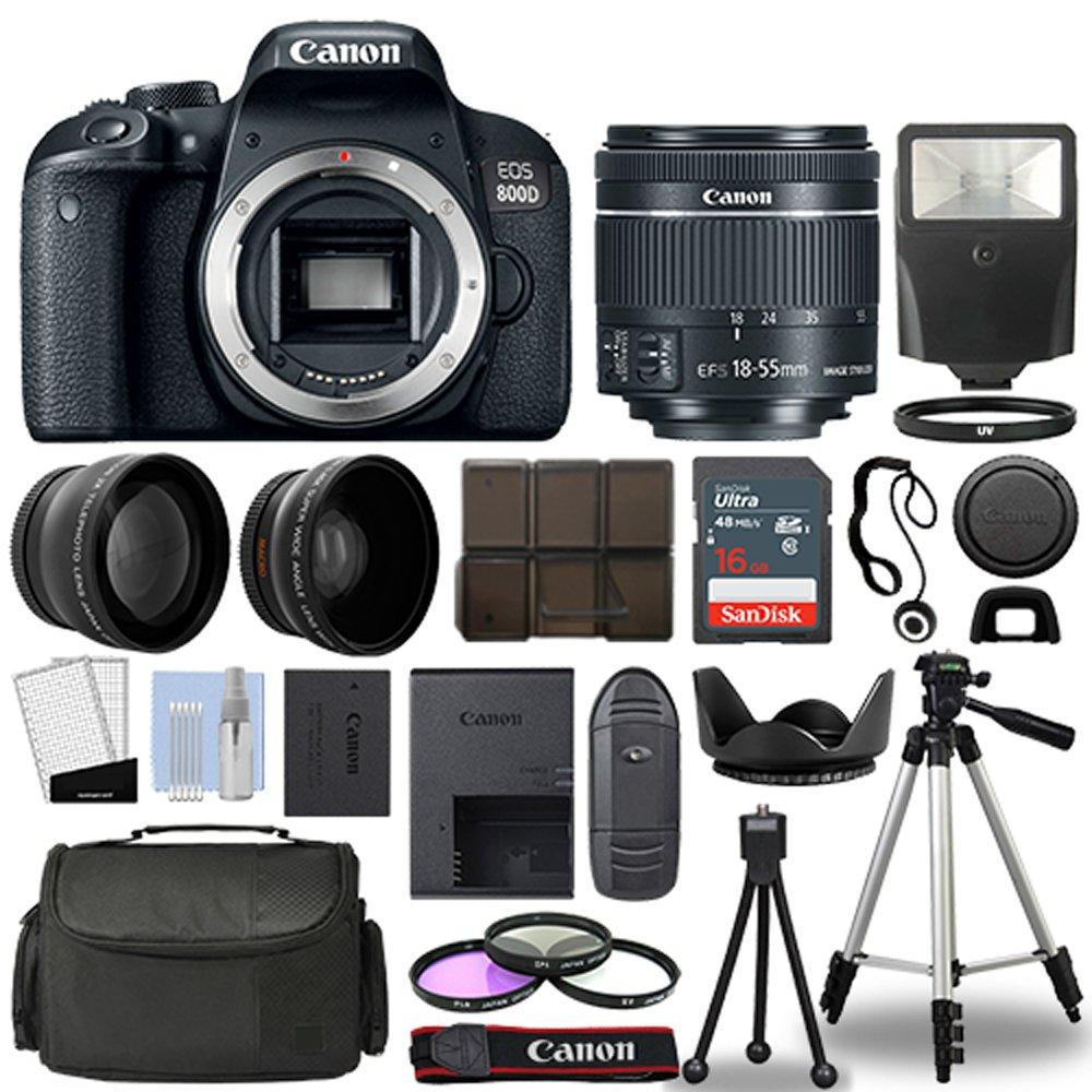 Canon 800D / Rebel T7i DSLR + 18-55mm is STM 3 Lens + 16GB Top Value Bundle  - 2X Telephoto Lens + Wide Angle Lens + 3 Piece Filter Kit + Tripod + Lens