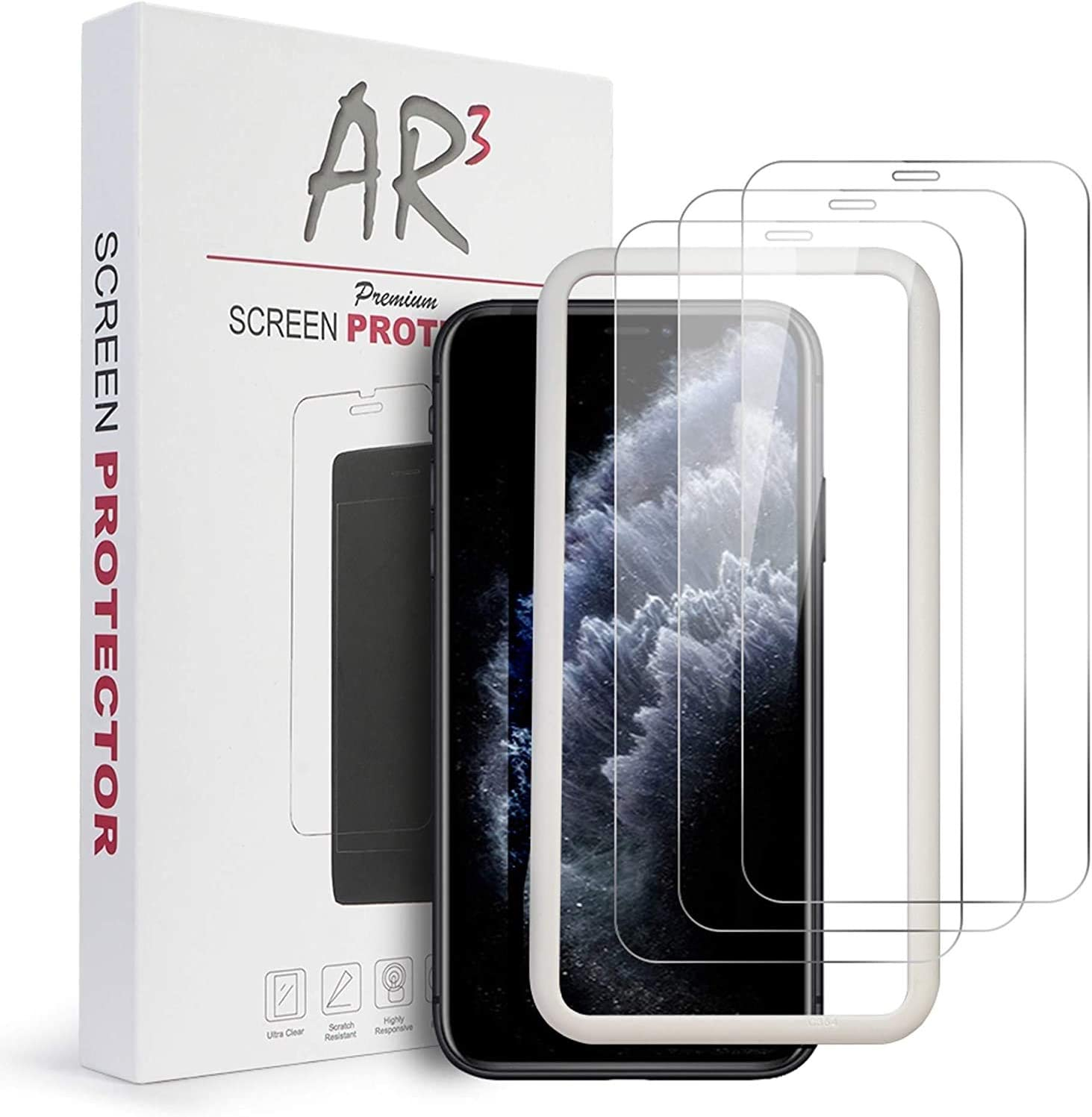"AR3 Tempered Glass 2.5D Ultra Clear Case Friendly Screen Protector with Easy Install Frame Tool Kit for iPhone 11 Pro Max, iPhone XS Max (6.5"") - 3 Pack - Retail Packaging"