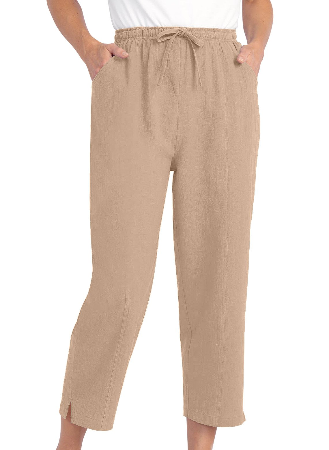 Carol Wright Gifts Drawstring Capri Pants, Tan, Size Extra Large (5X)