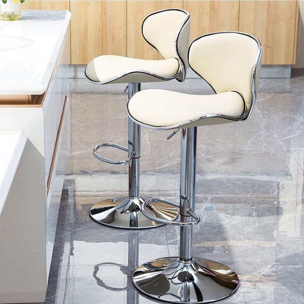 AOLI Dining Room Chairs Bar Stool Adjustable Swivel Gas Lift Barstools, Pu Leather with Chrome Base,Dining Room Furniture - 350 Lbs Capacity, Gray,Orange White