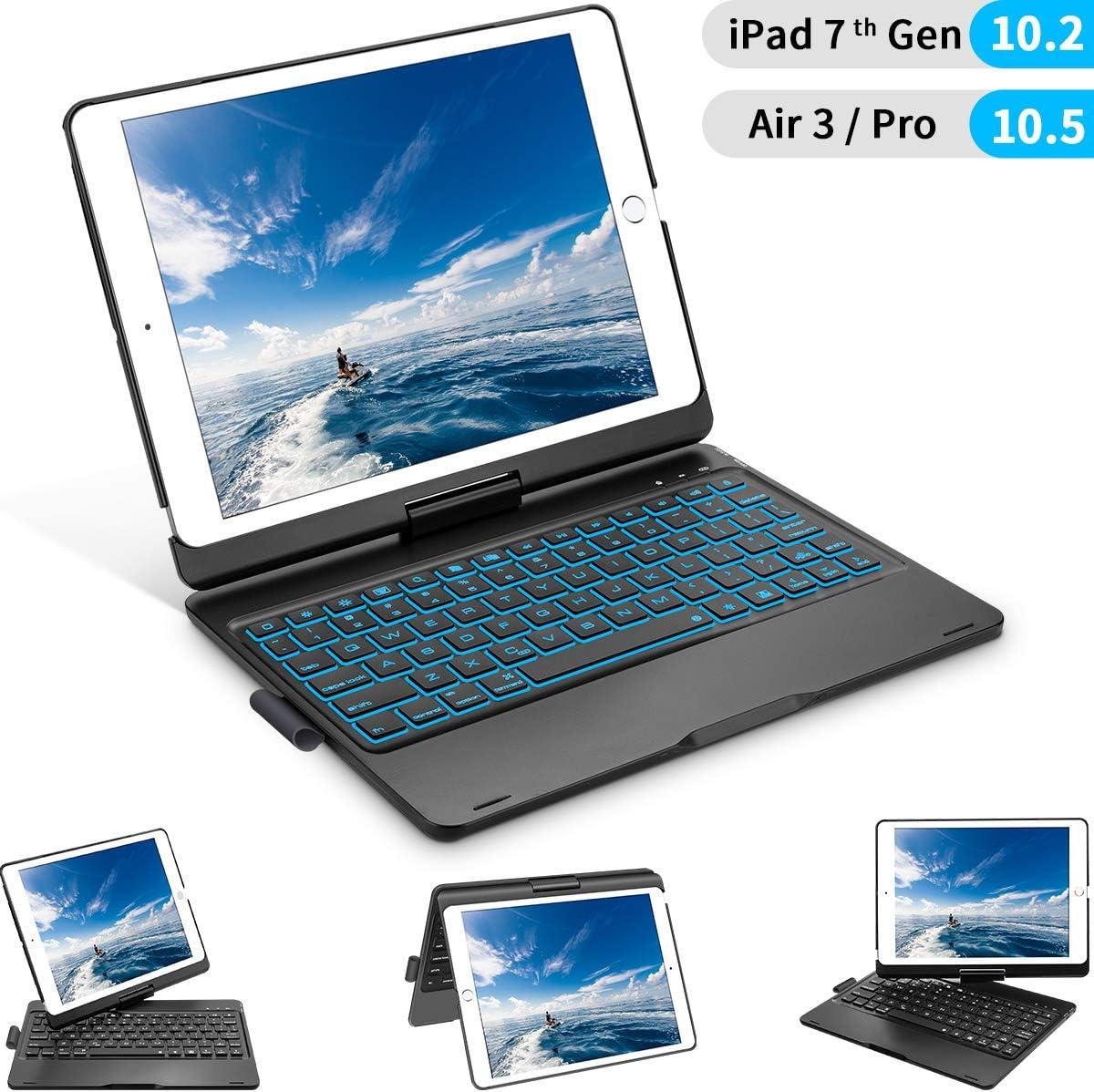 iPad 10.2 7th Generation 2019 Keyboard Case, iPad Keyboard Case for iPad 10.2 2019, iPad Air 3 10.5 2019, iPad Pro 10.5 2017, 360 Rotation, 7 Colors Backlight, with Apple Pencil Holder – Black