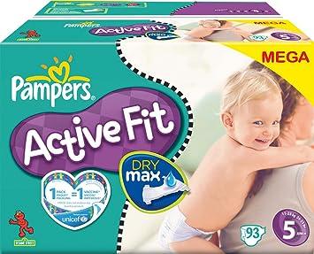 PAMPERS Pañales Active Fit Talla 5 junior 11 – 25 Kg Mega Pack, 93 pieza: Amazon.es: Salud y cuidado personal
