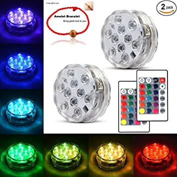 Underwater Submersible LED Lights Waterproof Multi Color Battery Operated  Remote Control Wireless 10 LED Reusable