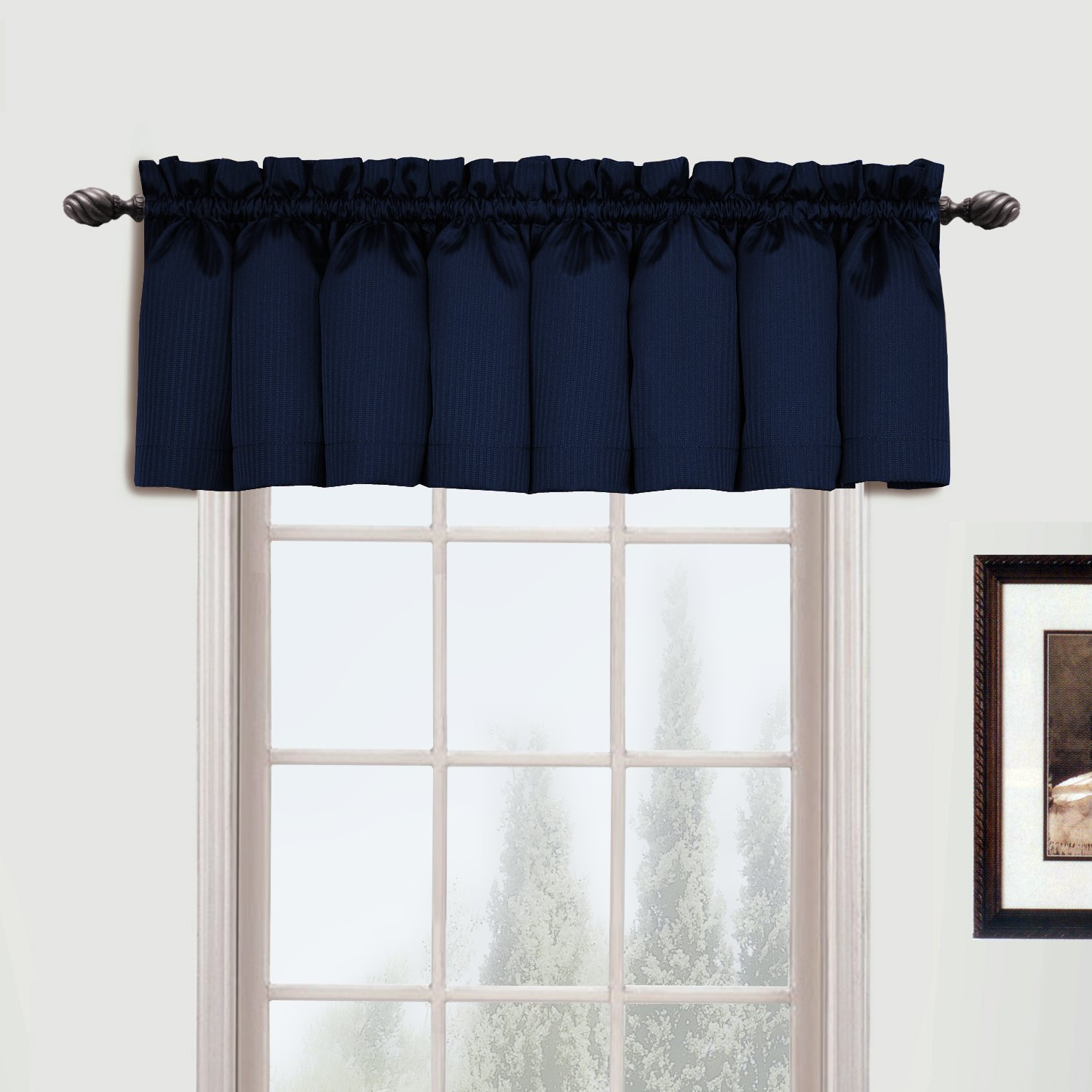 United Curtain Metro Woven Straight Valance, 54 by 16-Inch, Navy METVANY