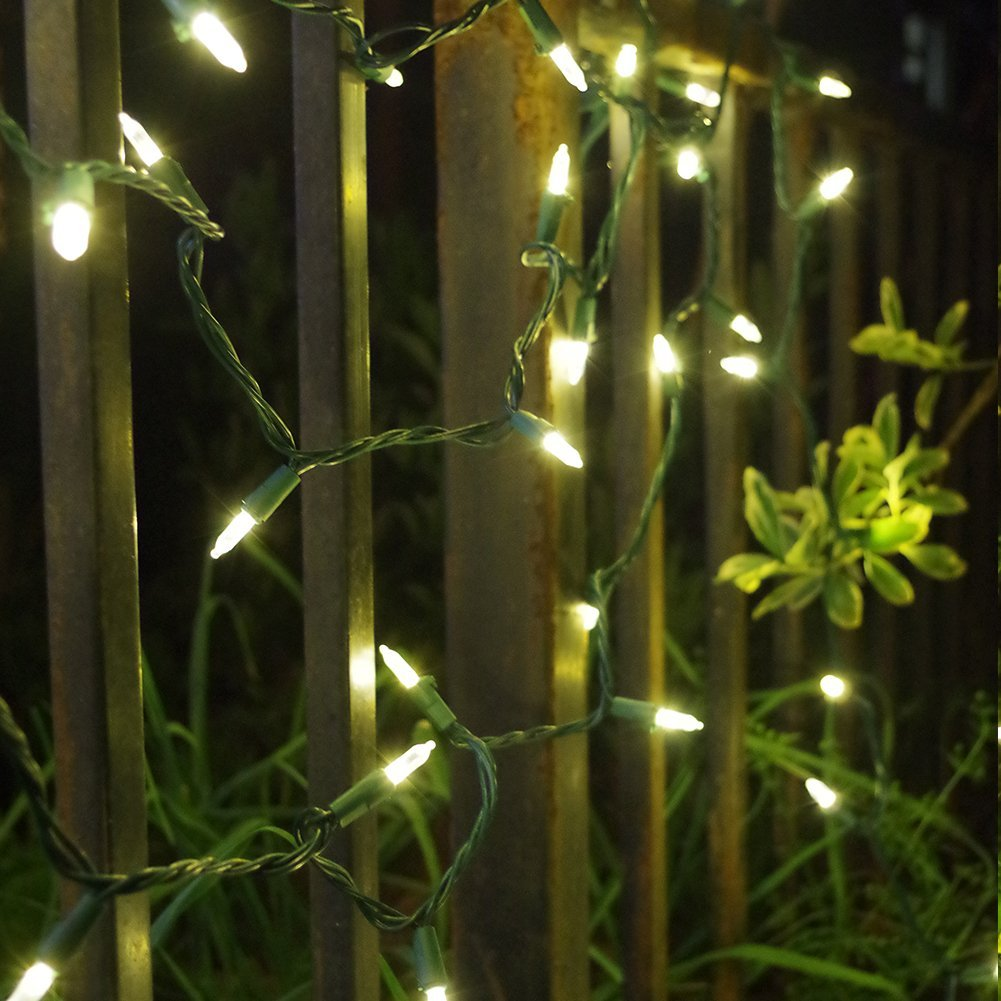 PEULED Warm White Led String Lights, 120V 100Led 33ft UL588 Waterproof Connetable Lights, Indoor Outdoor Mini Lights for Bedroom Wedding Party Decor, Green Wire Xmas Lights