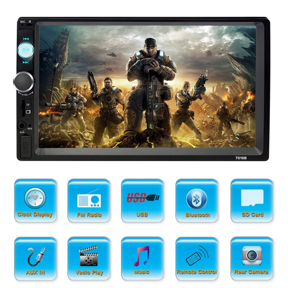 SPEEDTON 7 inch Double Din Touch Screen Car Stereo MP5//MP4//MP3 Player FM Radio Car Audio Bluetooth Support Rear View Carmer Remote Control 606089238152
