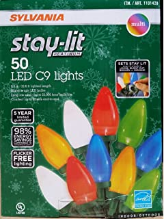 sylvania stay lit platinum led indooroutdoor christmas string lights various colors