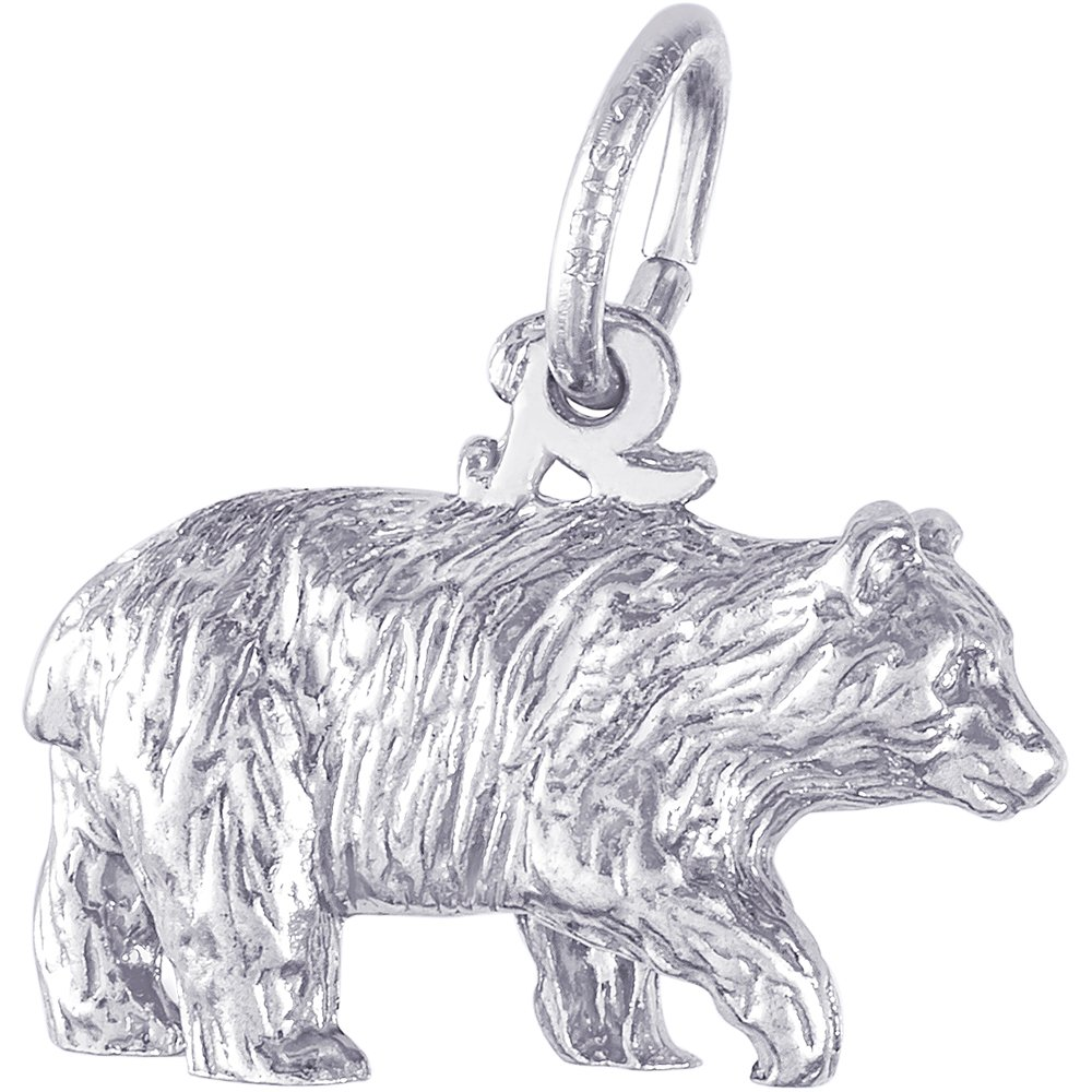 Box or Curb Chain Necklace Rembrandt Charms Sterling Silver Black Bear Charm on a 16 18 or 20 inch Rope