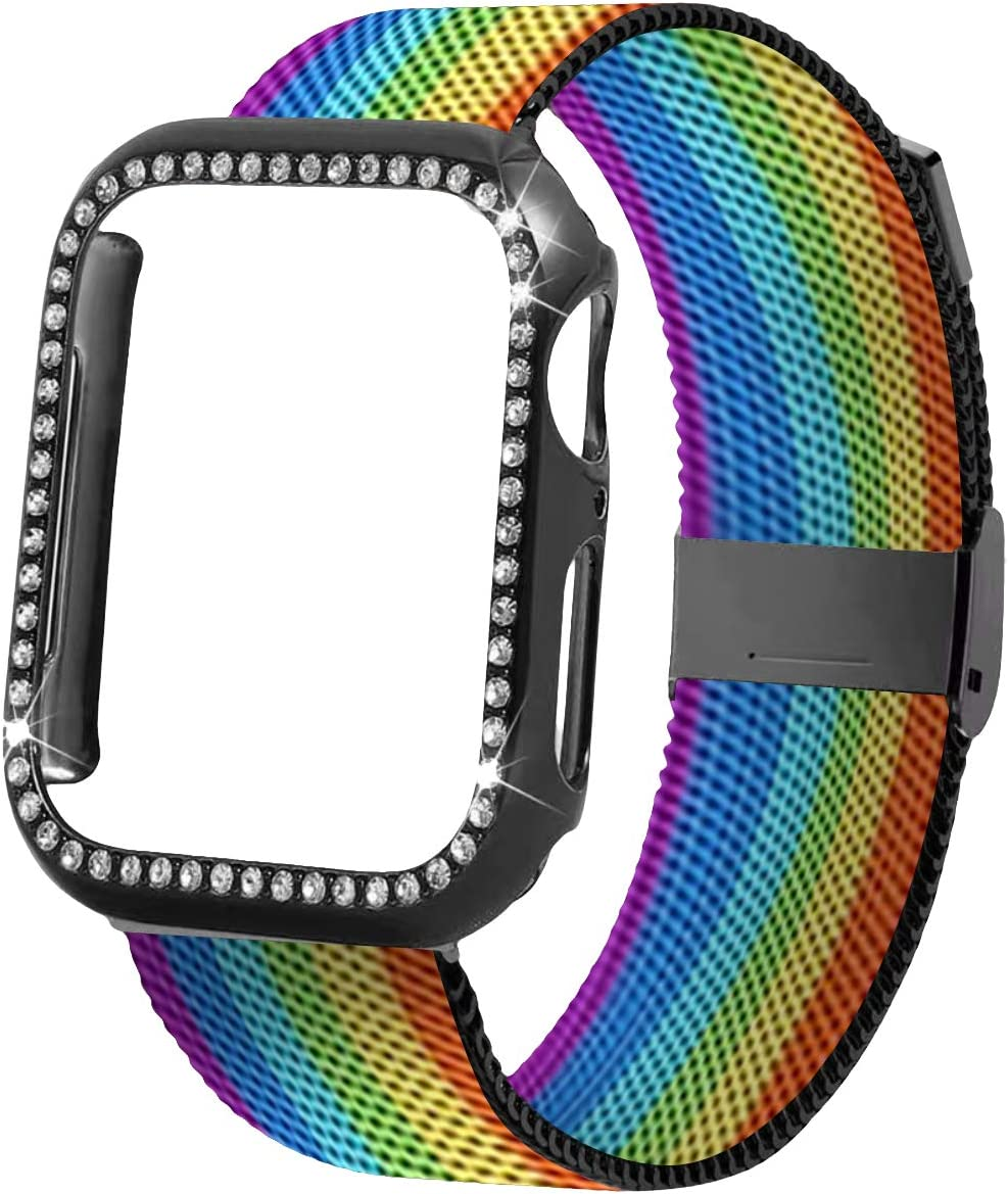 Stainless Steel Mesh Watch Bands - Breathable Soft Strap Metal Wristband Bracelet Replacement Bands 38mm 40mm 42mm 44mm Compatible with Apple Watch Milanese Strap,for Men and Women (Rainbow, 42/44)
