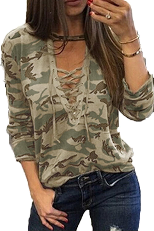 YOINS Camicia Donna a Manica Lunga Camicetta Scollo a V Design Cavo Bluse Spalla Fredda Casuale T-Shirt