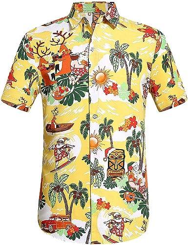 Fannyfuny camiseta Hombres Verano Original Básica de Manga Corta Camisetas Hombre Baratas Ropa Gym Hombre Original King Funky Camisa Hawaiana Bolsillo Delantero Impresión de Hawaii: Amazon.es: Ropa y accesorios