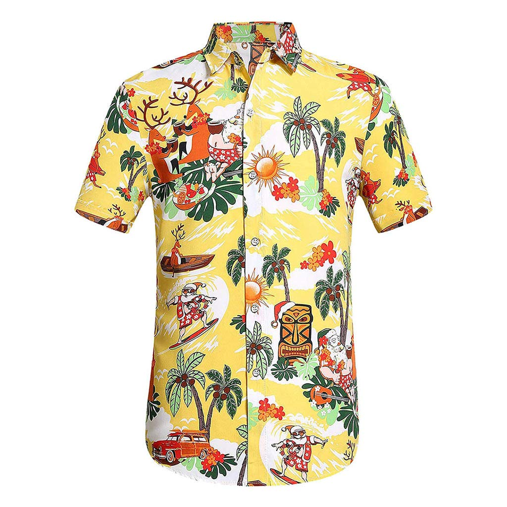YOMXL Men's Hawaiian Top Summer Tropical Printed Button Down Shirt Casual Standard-Fit T-Shirt Short Sleeve Yellow by YOMXL