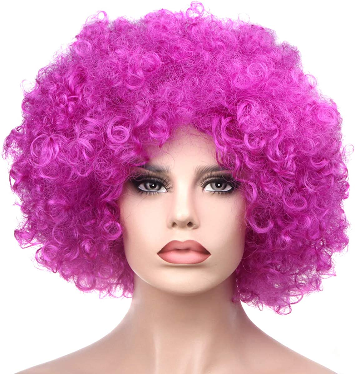 IETANG Halloween Mardi Gras Wig Hair Curl Wigs Synthetic Fiber Hairpiece Party Hair Fan Costume Wig