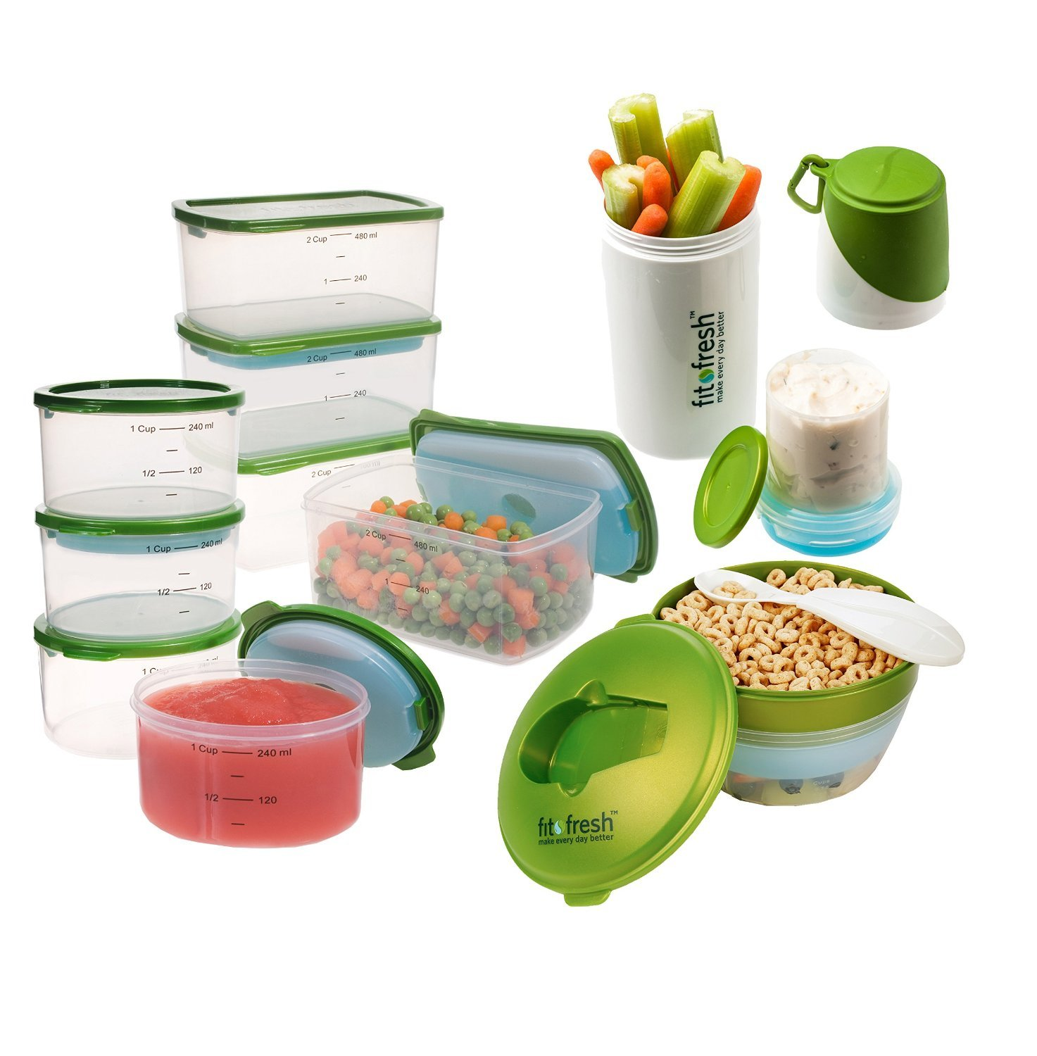 Fit & Fresh Perfect Portion Kit, Value Set Includes Reusable Portion Control Containers with Removable Ice Packs, BPA-Free Food Storage for School, Work, On-the-Go Snacks