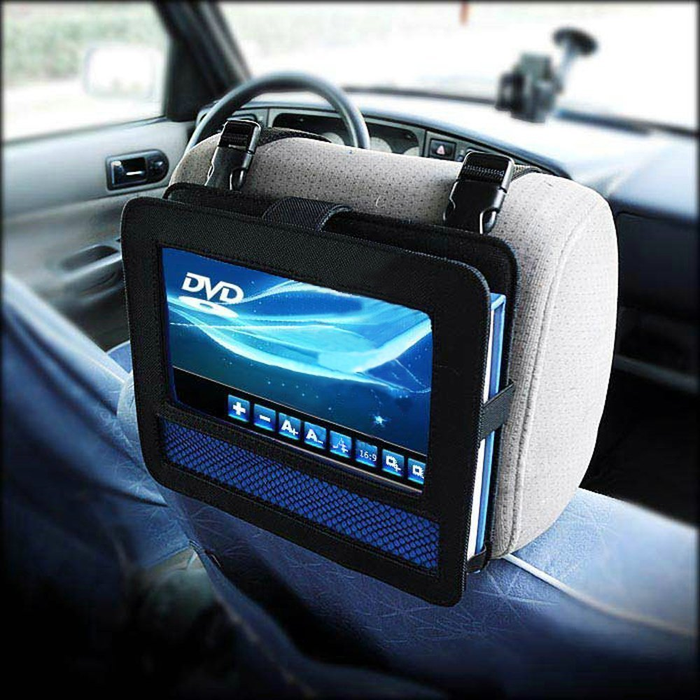 Amazon com revolity 10 10 5 inch car dvd headrest mount holder strap case for swivel flip style portable dvd player color black car electronics