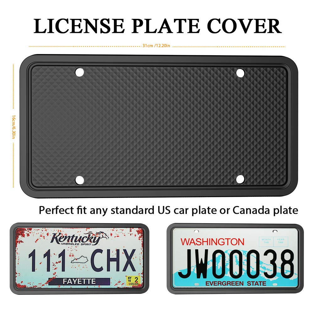 Molitececool License Plate Frame Silicone License Plate Frame for Automotive Weather-Proof Rust-Proof Rattle-Proof for Car License Plate Holder