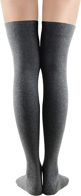 Women Non Slip Thigh High Socks Fashion Tube Stockings Above Knee Cosplay Socks 1 Pack Dark Grey One Size At Amazon Women S Clothing Store