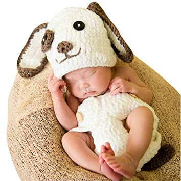 Image Unavailable. Image not available for. Color  M G House Baby Newborn  Photography Props Cute Dog Handmade Crochet Knitted Unisex Baby Cap Outfit 9f6e37f802f7