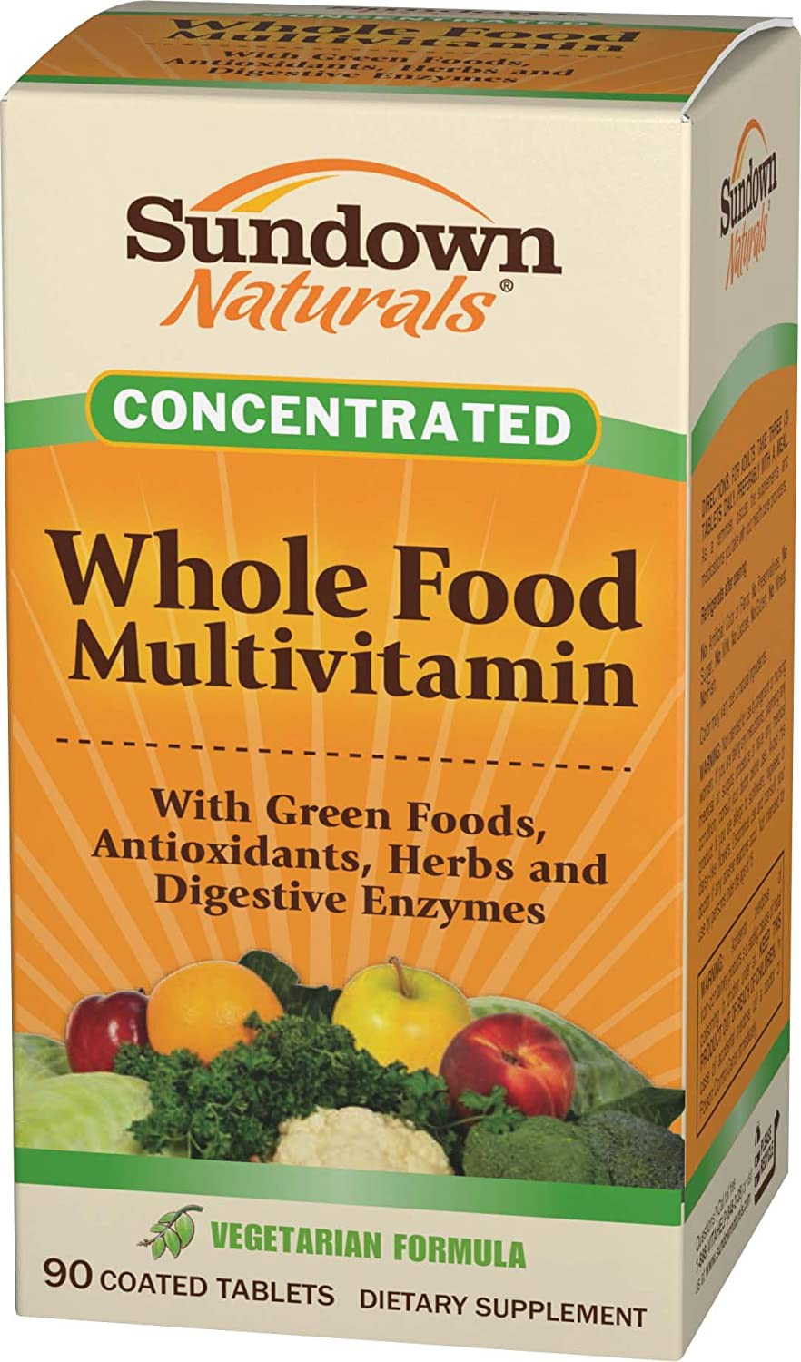 Sundown Naturals Whole Foods Concentrate Multivitamin Formula  Coated Tablets