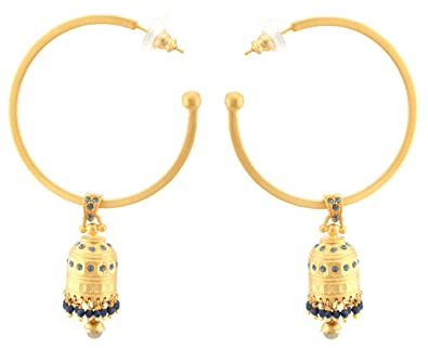 Zest Indian Golden Jhumkas Swarovski Crystal Hoop Earrings for