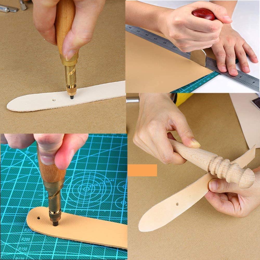 LEAMALLS 45 Pezzi Mano di Artigianato in Pelle Cucire Accessori Stitching Punch taglierina Beveler Accessori per Lavorazione Kit Incisione Pelle