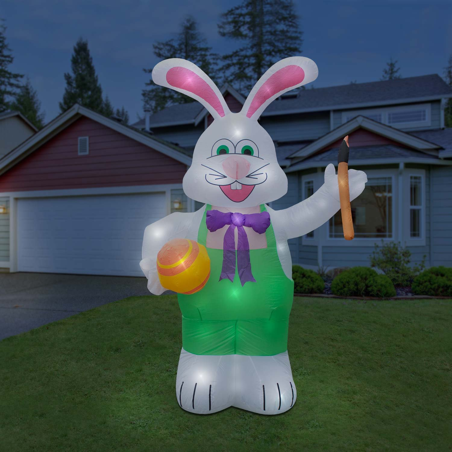 Holidayana Inflatable Giant 8 Ft. Bunny With Paintbrush Inflatable Featuring Lighted Interior / Airblown Inflatable Easter Decoration With Built In Fan And Anchor Ropes by Holidayana