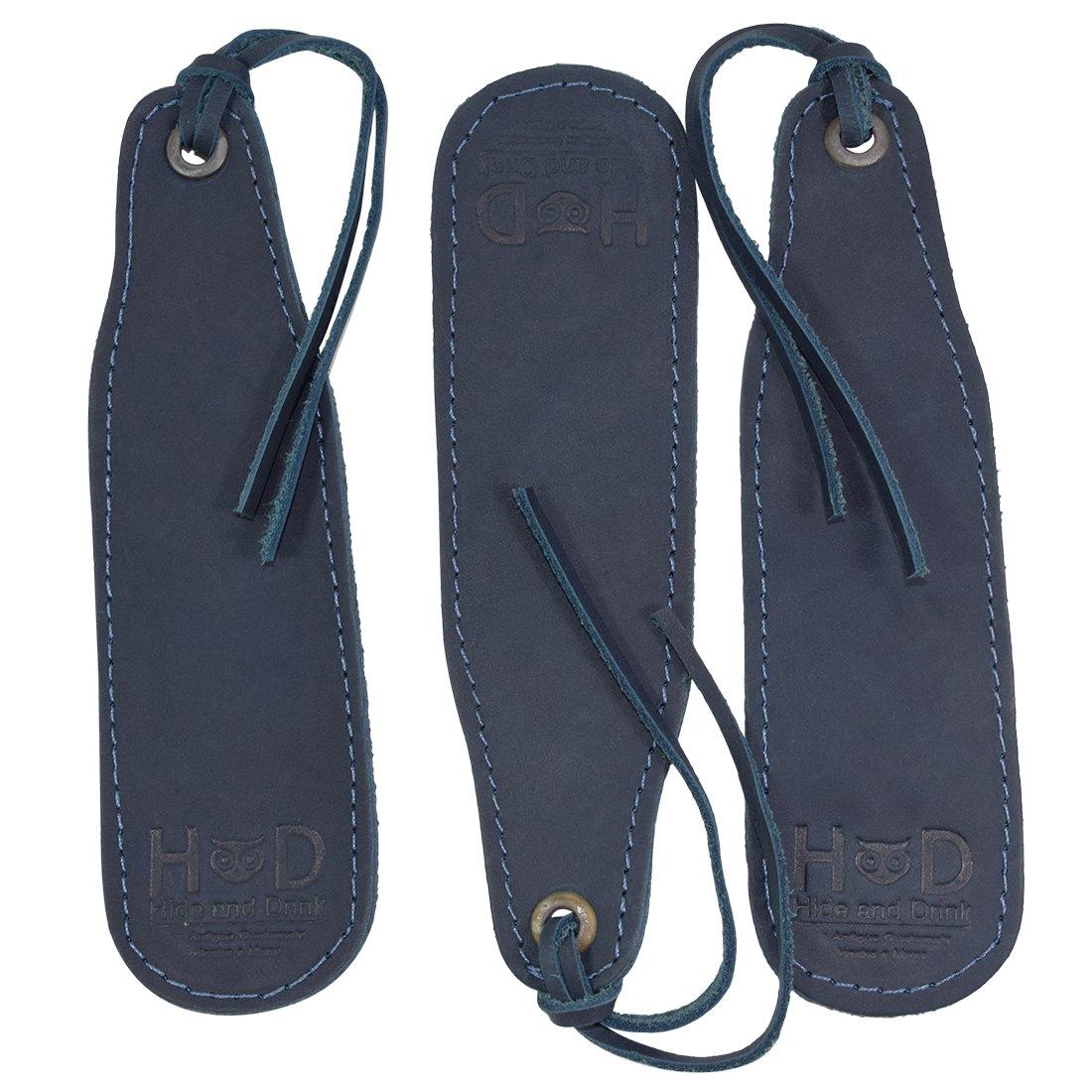 Leather Bookmark Handmade by Hide & Drink :: Slate Blue