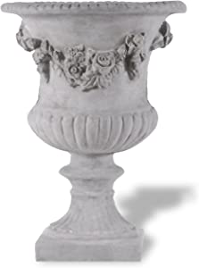 Amedeo Design ResinStone 2509-23G Rose Urn, 17 by 17 by 24-Inch, Lead Gray