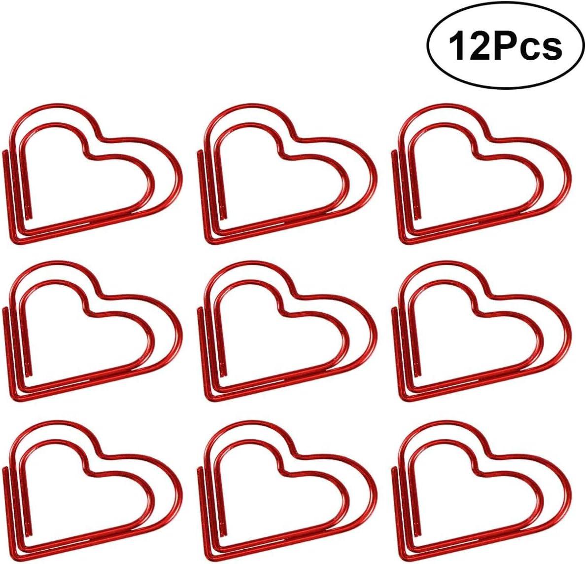 NHOUYAO Graffette a Forma di Cuore a Forma di Cuore Clip per segnalibri Rosse Clip per Foto in Metallo Clip per Segno per Ufficio Scuola 12 pz