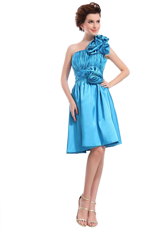 Dresstells Chic Damen Kleider knielang Satin Drappierung Abendkleid Ballkleid mit Blume Ein-Träger